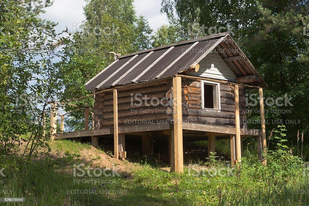 Hut Baba Yaga in the territory natural monument 'Park Dudarova' stock photo