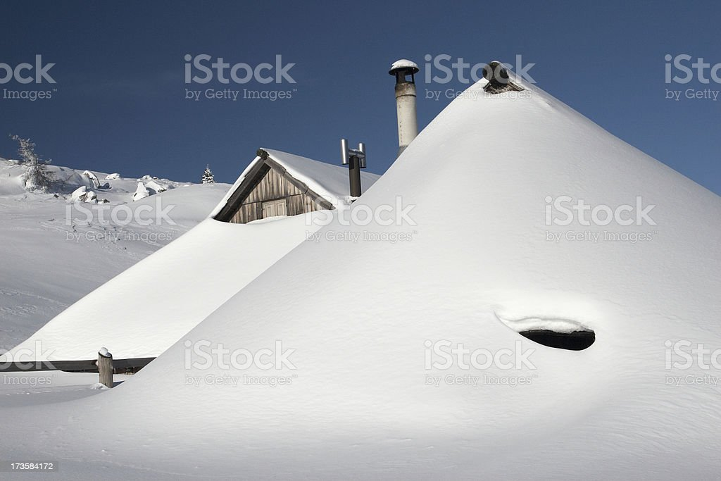 Hut covered with snow royalty-free stock photo