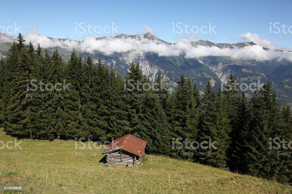 Hut in the alps in Switzerland stock photo
