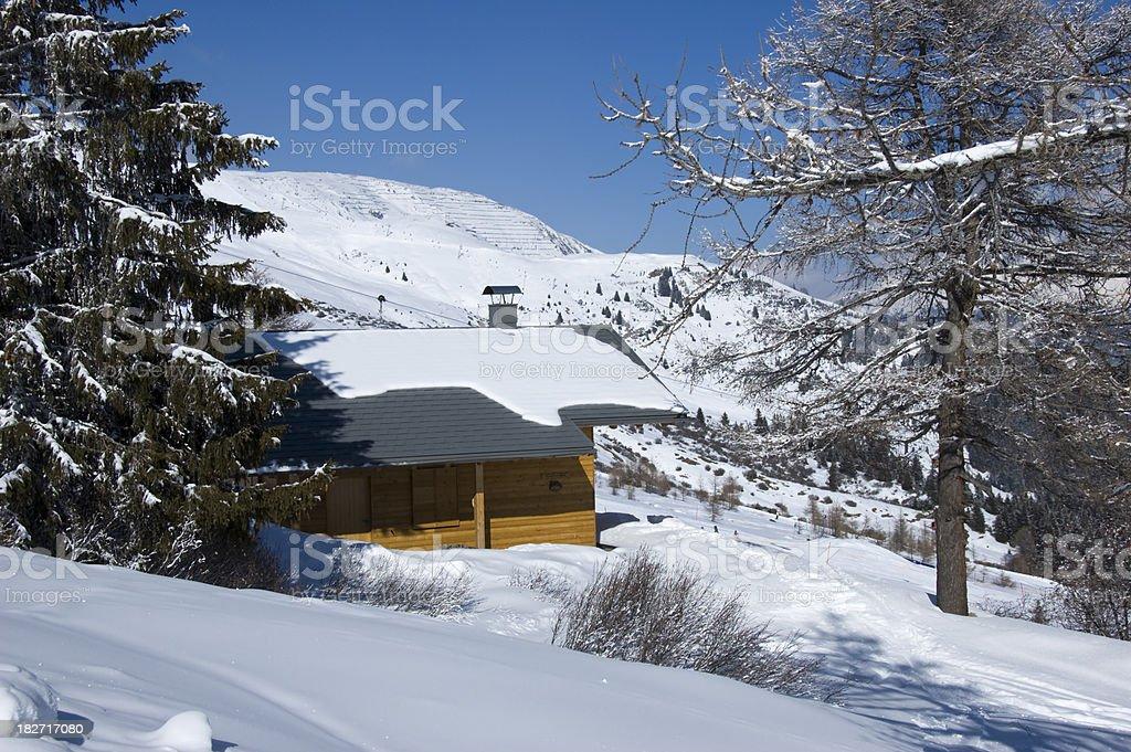 hut in the alps stock photo