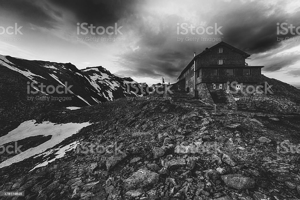 Hut in the Italian Alps royalty-free stock photo