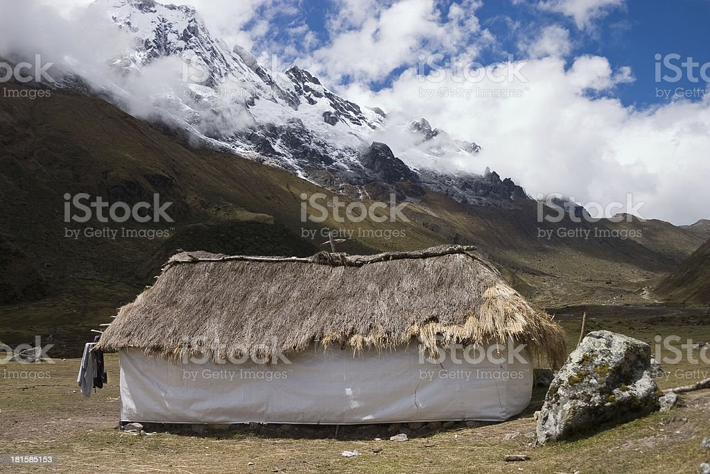 Hut in the peruvian Andes on Salcantay trail royalty-free stock photo