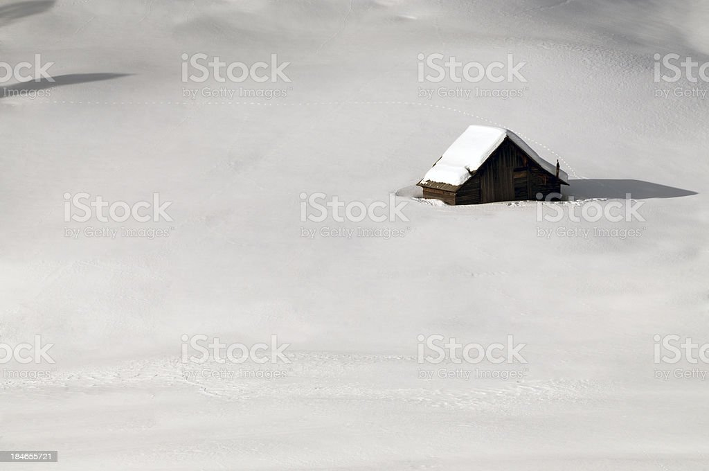 Hut in the snow stock photo