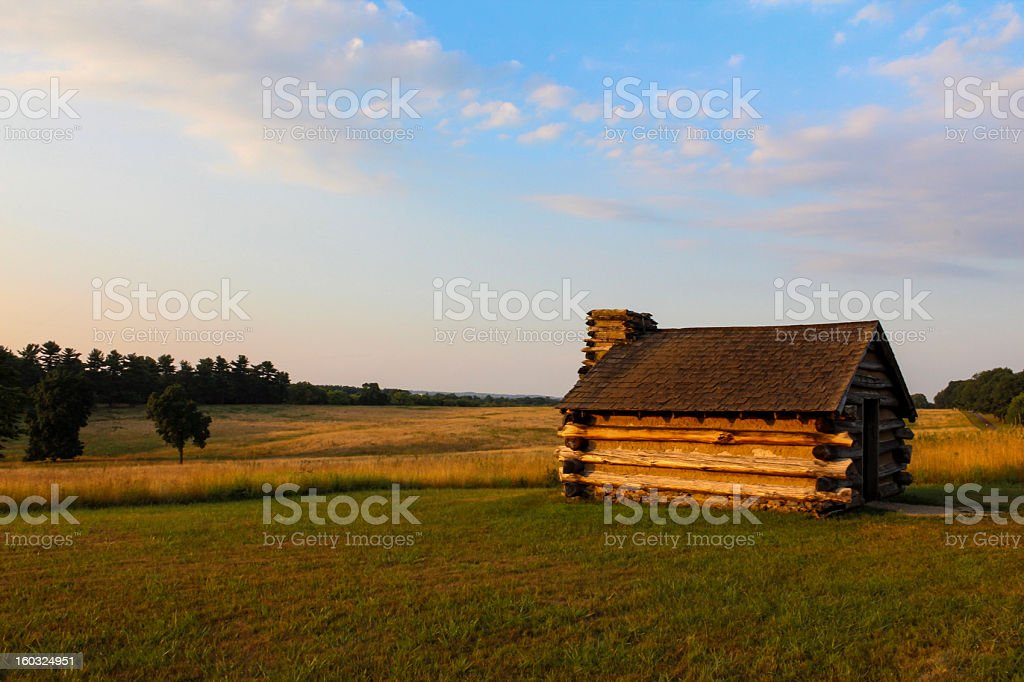 hut in valley forge park stock photo