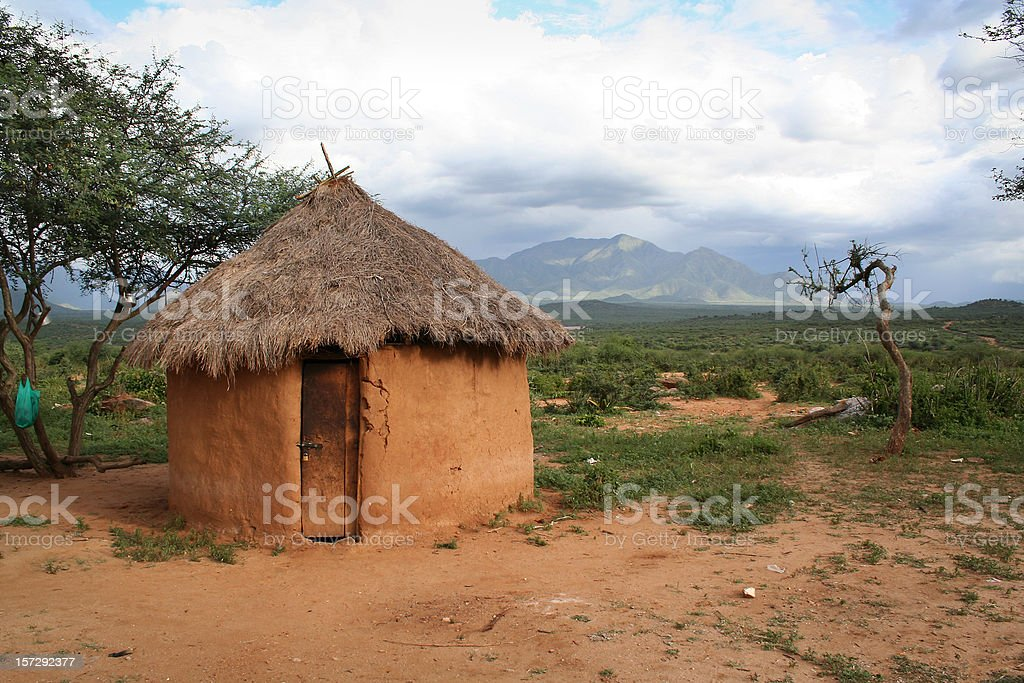 A hut made out of mud in Africa  stock photo