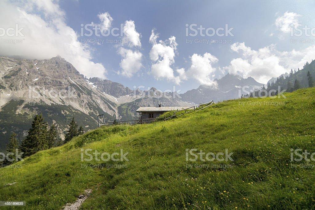 Hut Oberlicht Alp in Tirol / Austria royalty-free stock photo
