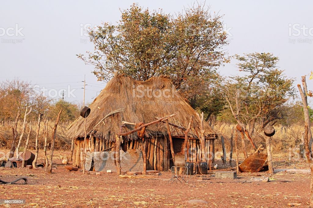 Hut of a Himba Tribe in Namibia stock photo