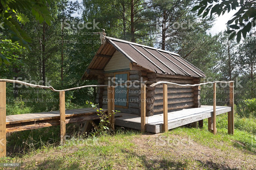 Hut of Baba Yaga in natural monument 'Park Dudorova' stock photo
