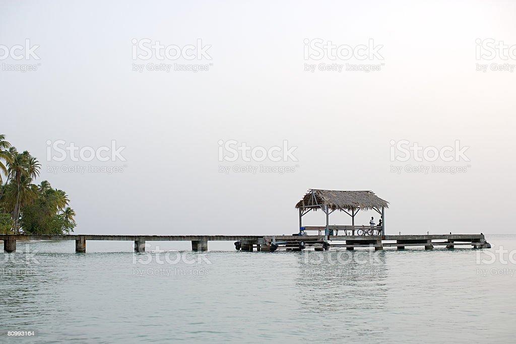Hut on a jetty stock photo