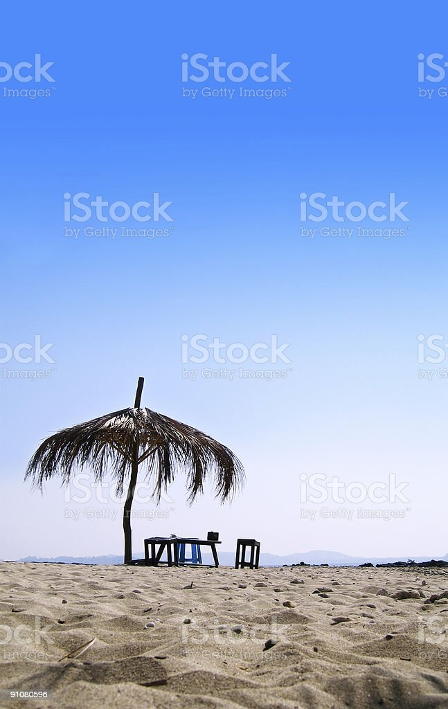 Hut on A Tropical Beach royalty-free stock photo