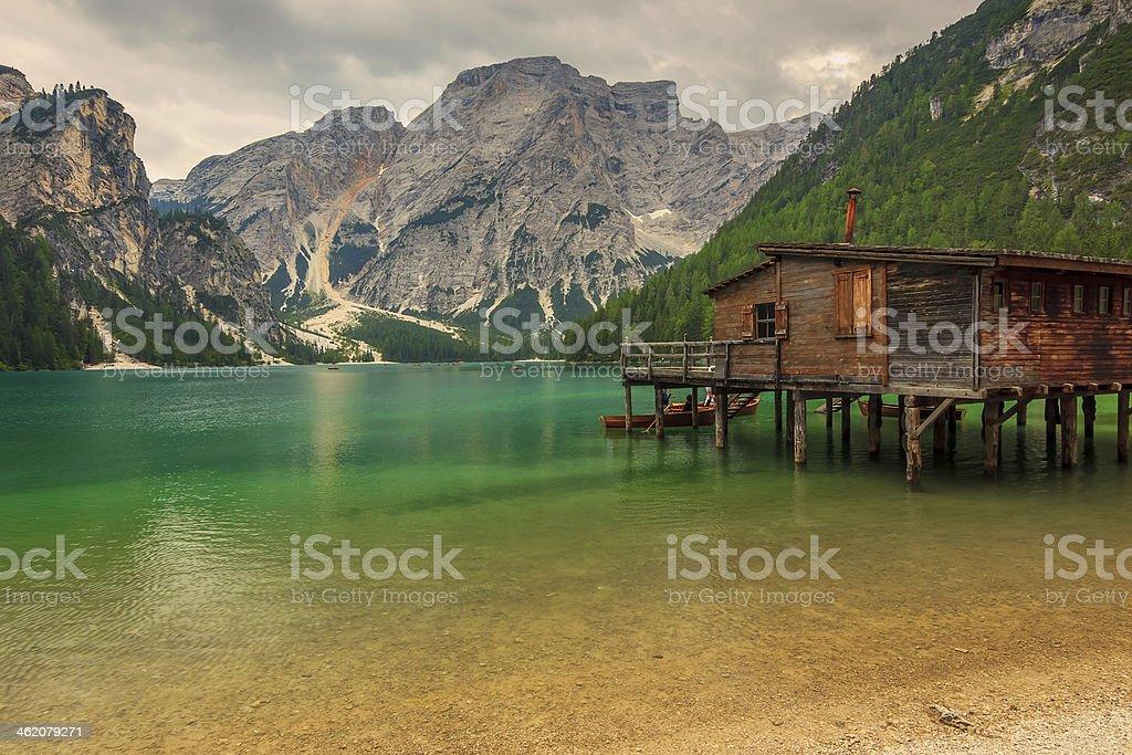 Hut on Braies Lake in Dolomiti mountains,Italy stock photo