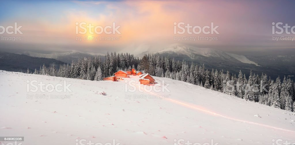 Hut on the background Chernogora stock photo