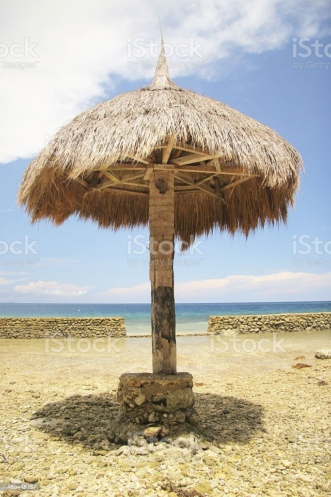 Hut on the Beach (Vertical) stock photo