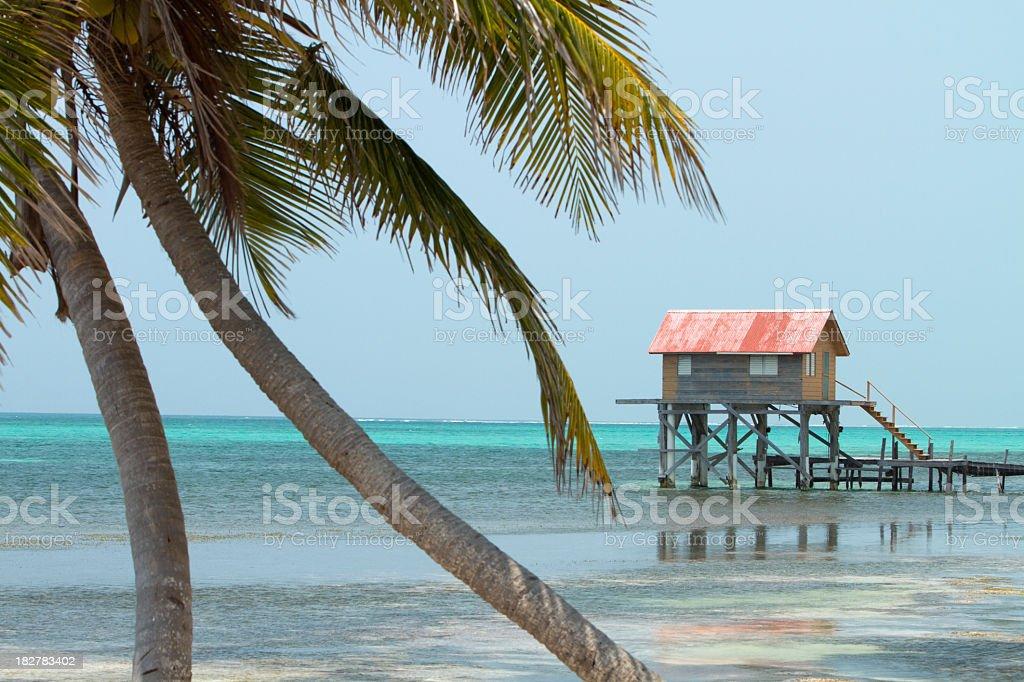 Hut on Water stock photo