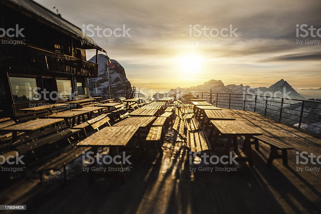 Hut Terrace at Sunset stock photo