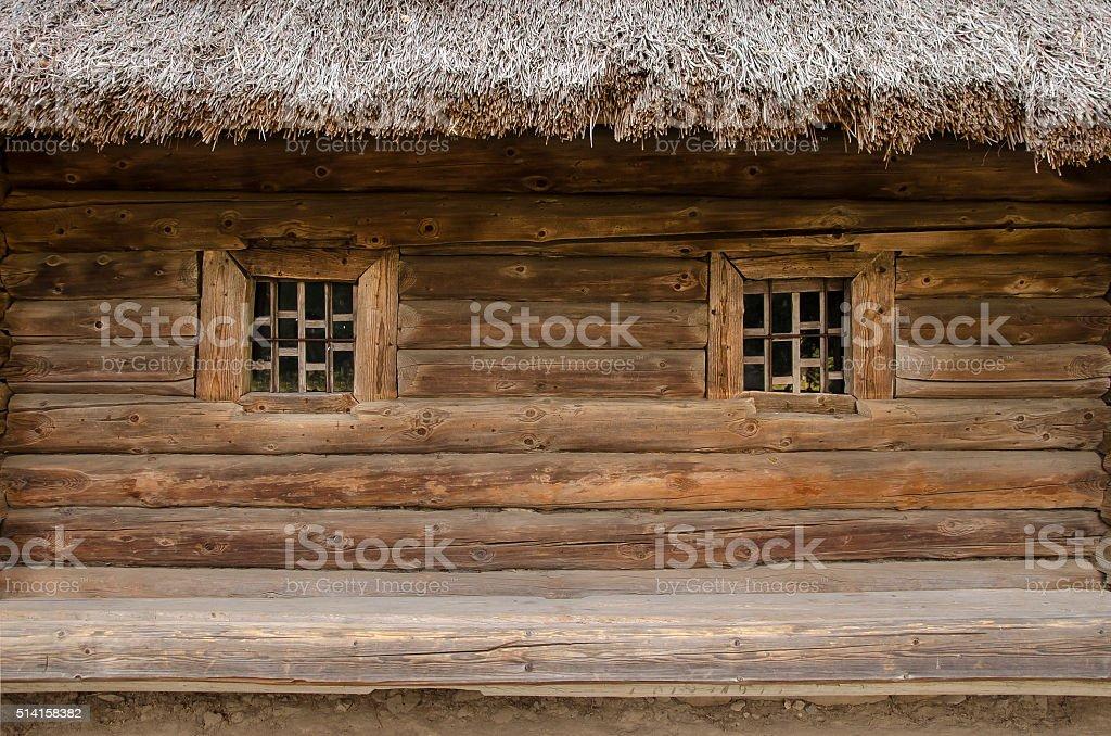 hut window wooden stock photo