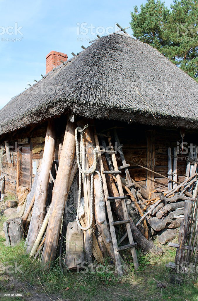 Hut with bulrush roof royalty-free stock photo