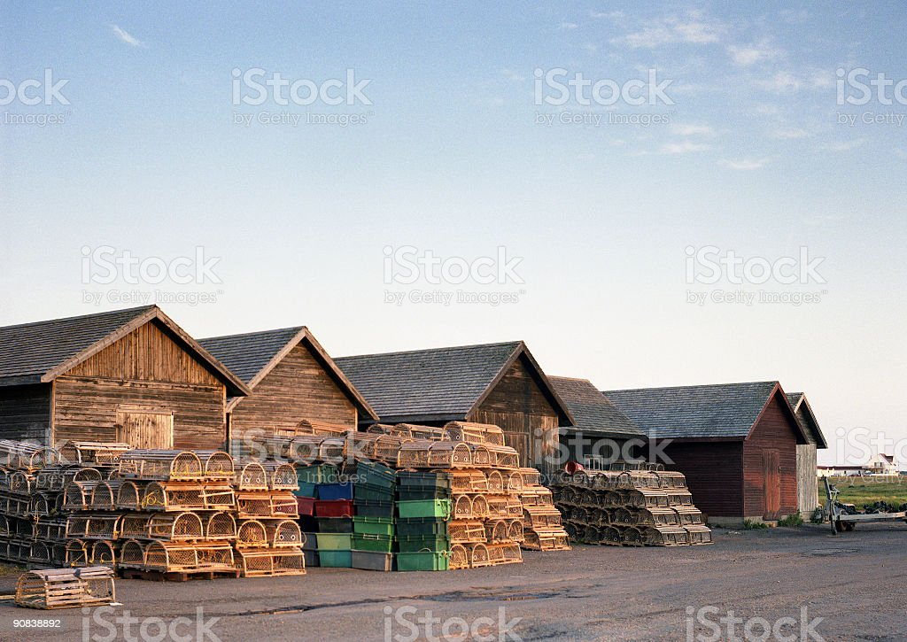 Huts and Lobster Traps stock photo
