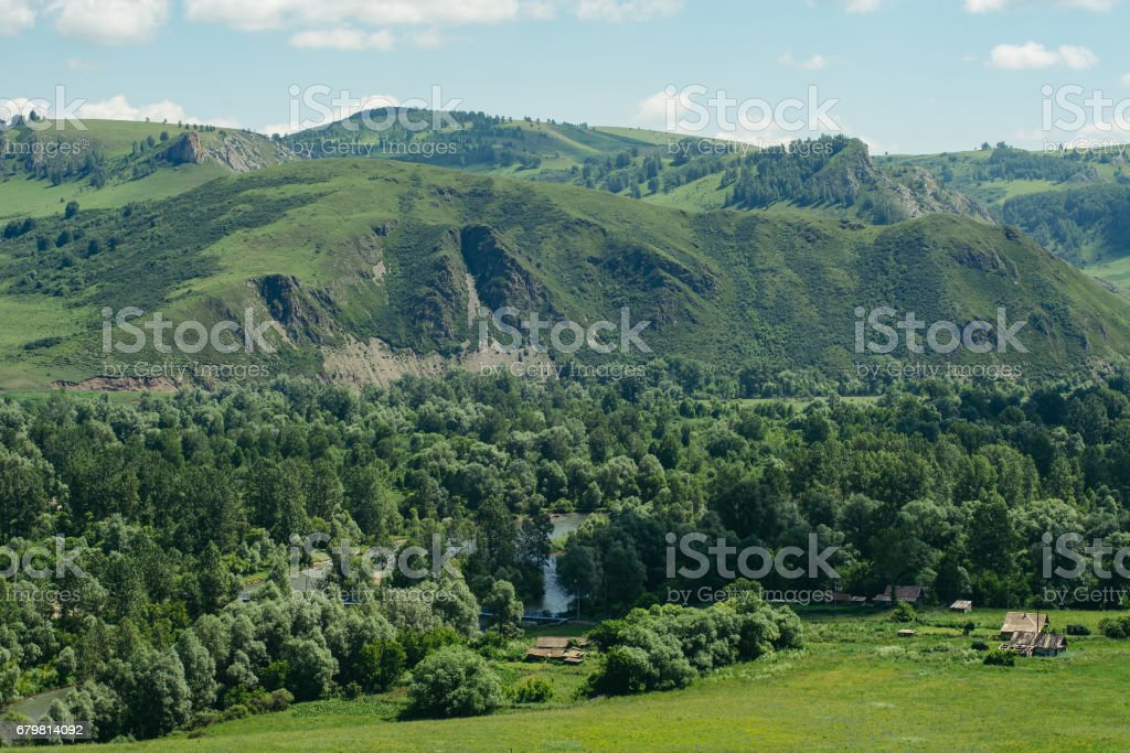 Huts built among the mountains and hills. stock photo