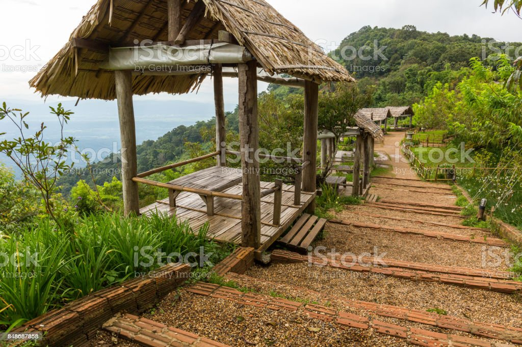 Huts for viewing the landscape at Mon Chaem in Chiang Mai, Thailand stock photo
