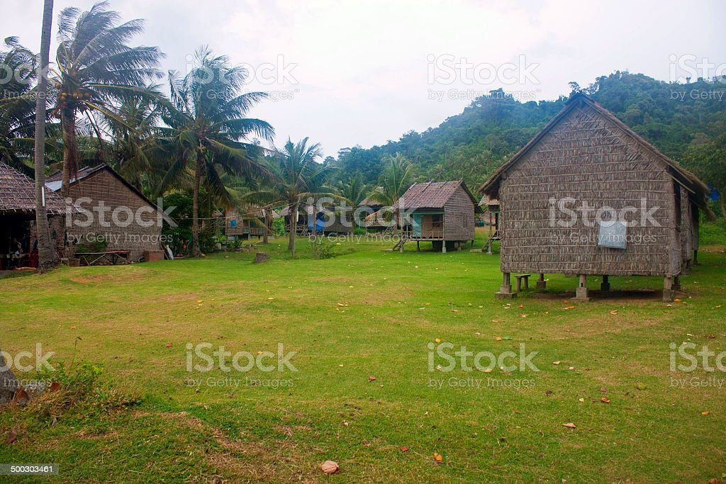 Huts in a jungle on Koh Tonsay island stock photo