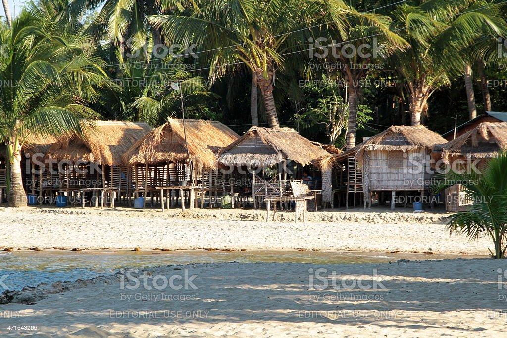 Capanne di spiaggia in Bolo, Filippine foto stock royalty-free