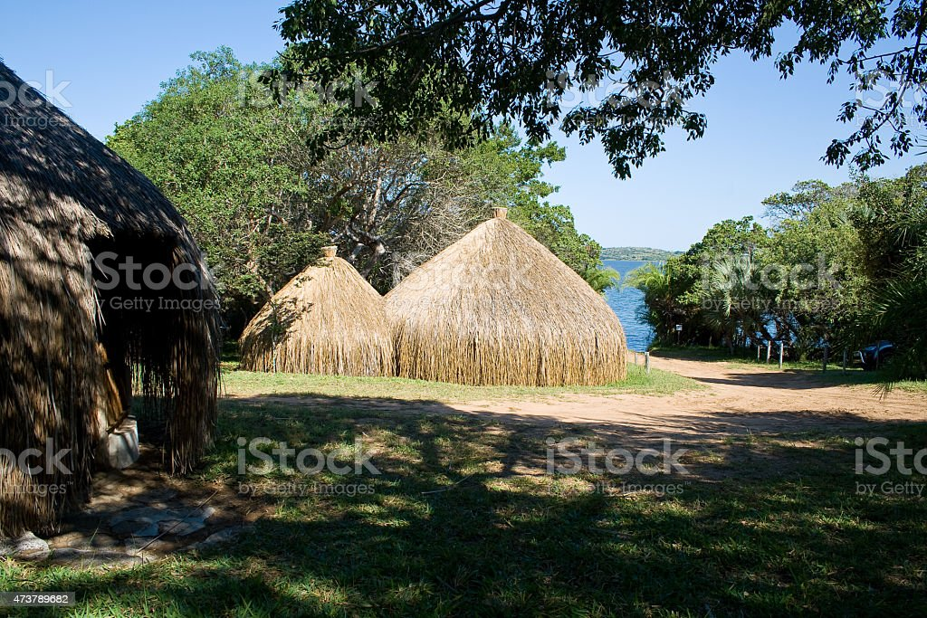 Huts in Mozambique stock photo