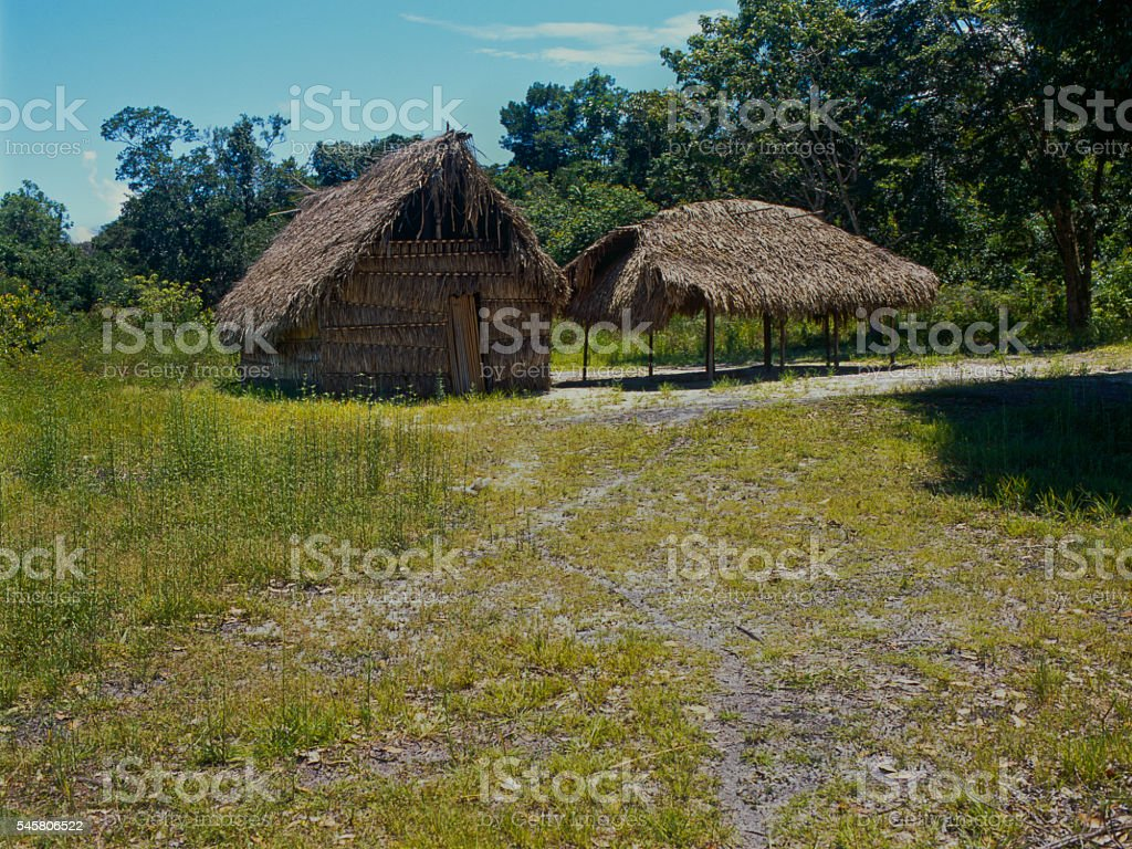 Huts in remote place in the jungle stock photo