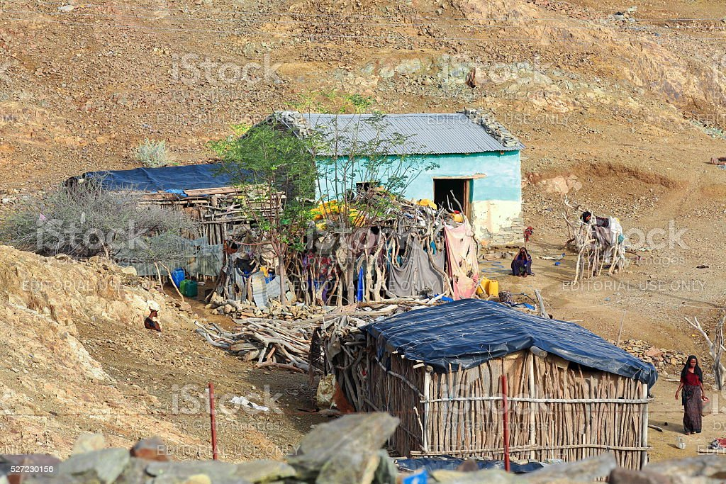Huts in the area around the school. Berahile-Ethiopia. 0403 stock photo
