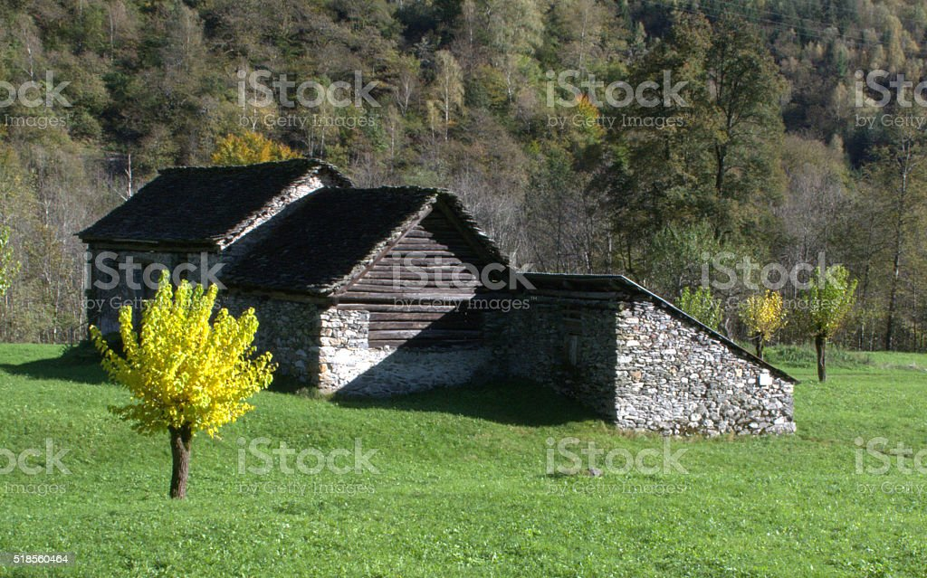 huts in the valley of the Maggia, Ticino, Switzerland stock photo