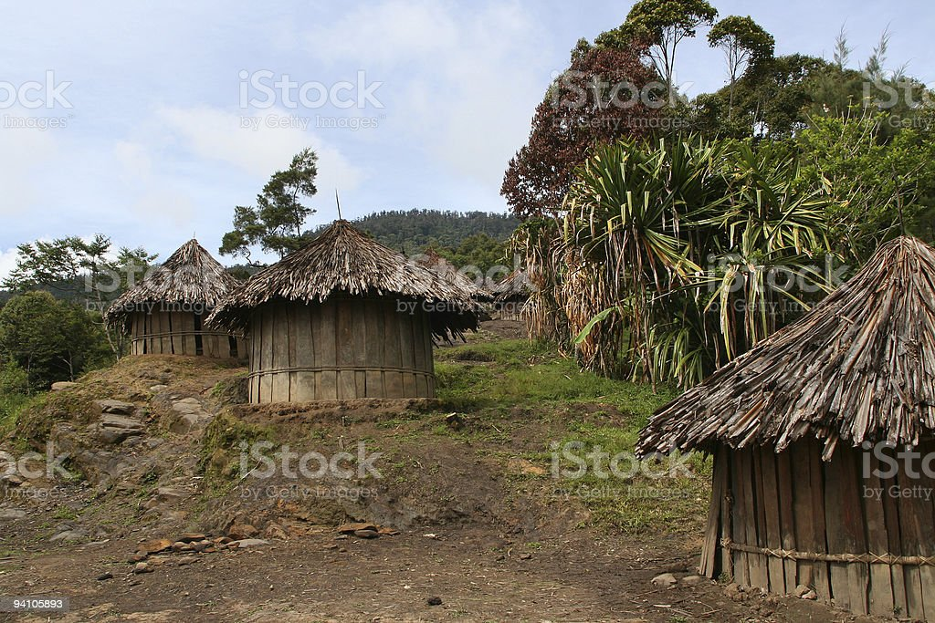 Huts of the New Guinea Highlands royalty-free stock photo