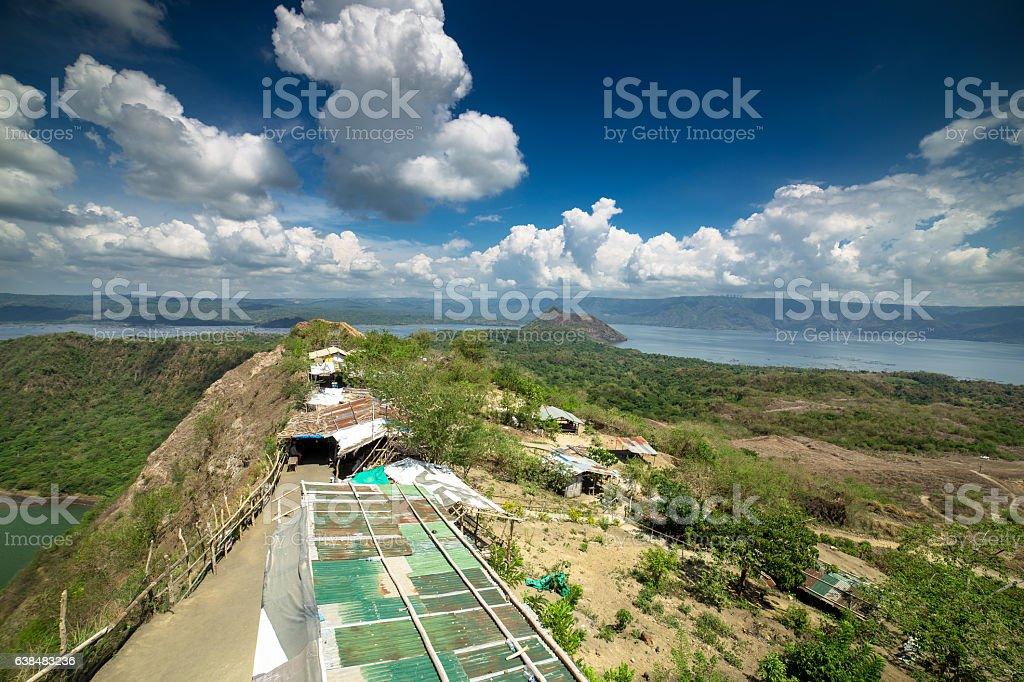 Huts on Lip of Taal Volcano stock photo