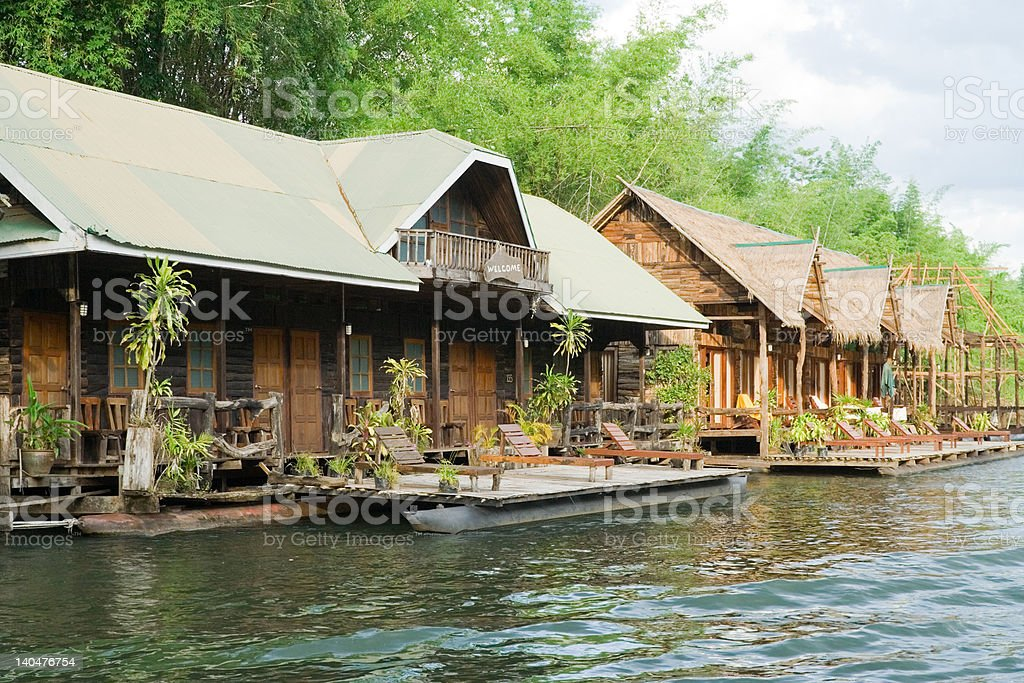 Huts on the river stock photo