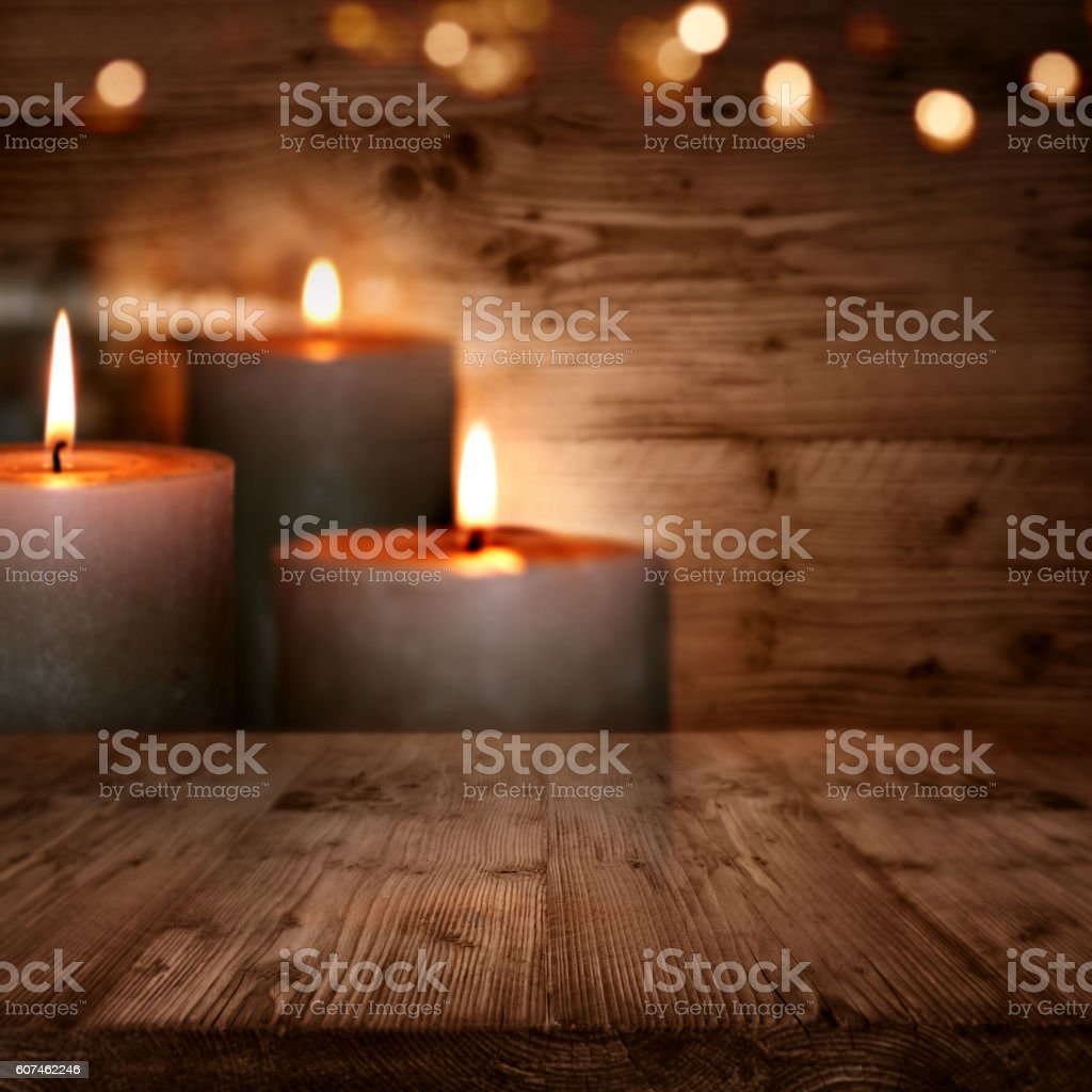 Huts romanticism with candles stock photo