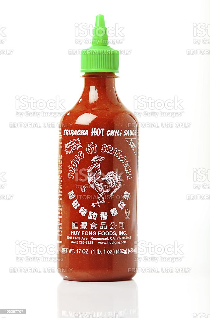 Huy Fong's Rooster Sriracha HOT Chili Sauce stock photo