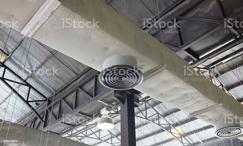 Hvac duct air conditioner ventilation pipes system stock photo