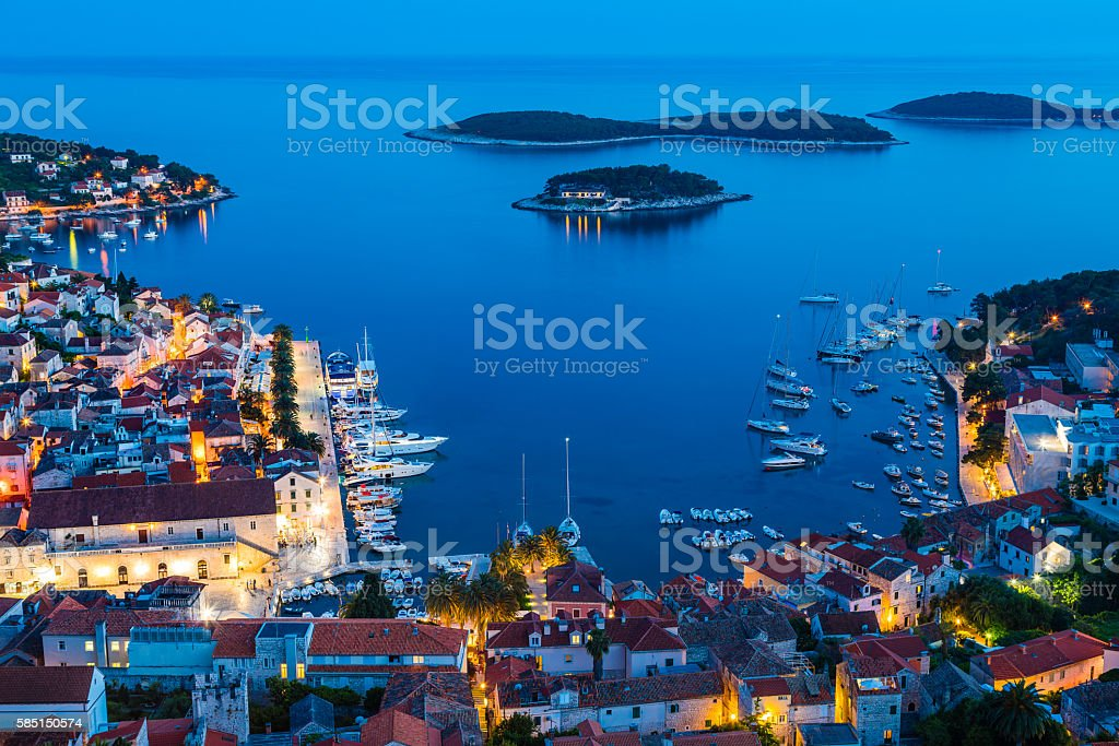 Hvar town on Hvar island, Croatia stock photo