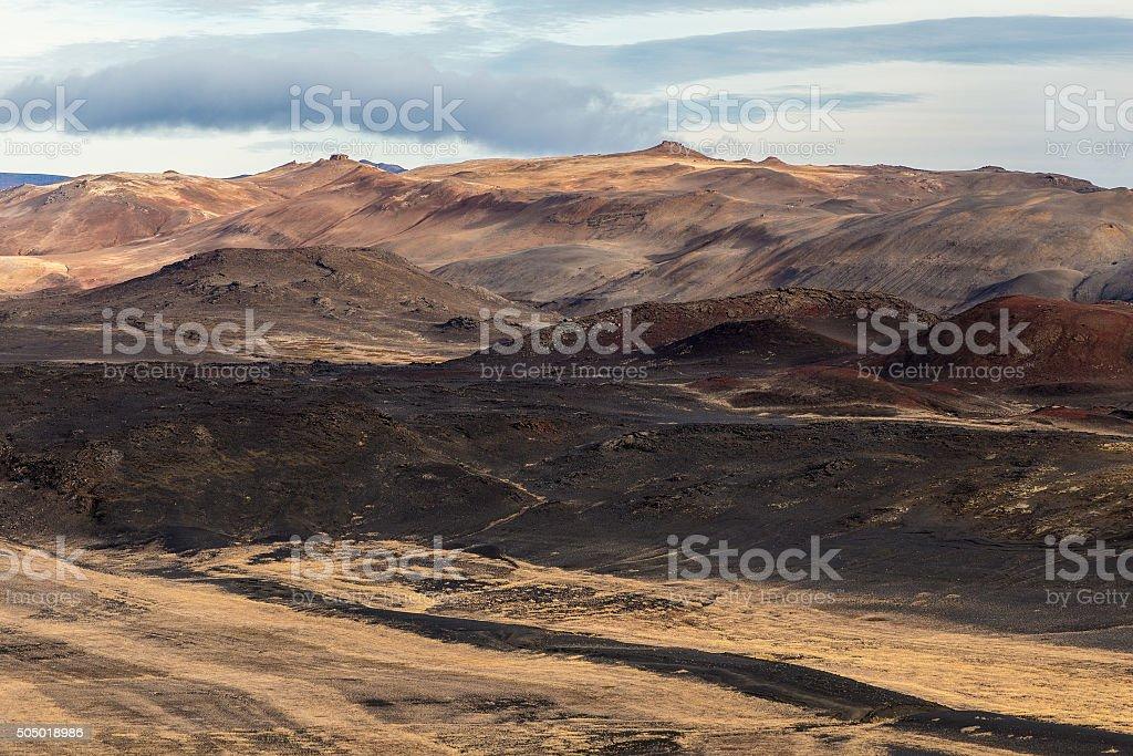 Hverarond, Myvatn, Iceland. Dead hills, extreme landscape stock photo