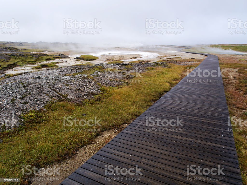 Hveravellir - a geothermal area in the Highlands of Iceland stock photo