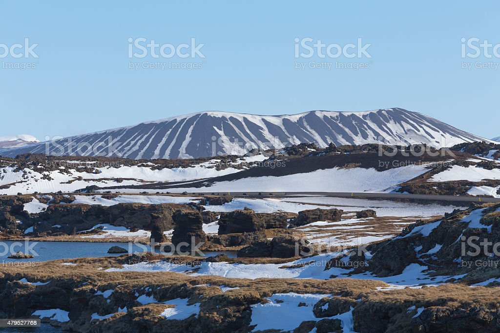 Hverfjall mount and lake volcano north of Iceland during winter stock photo