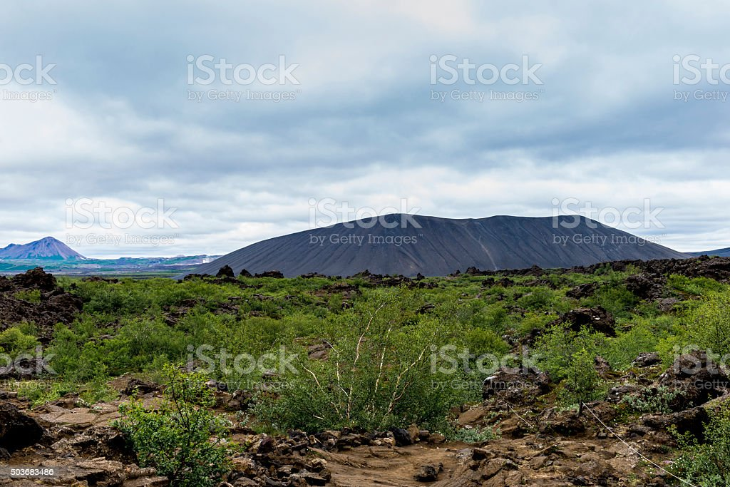 Hverfjall Volcanic Crater at Mývatn - Iceland stock photo
