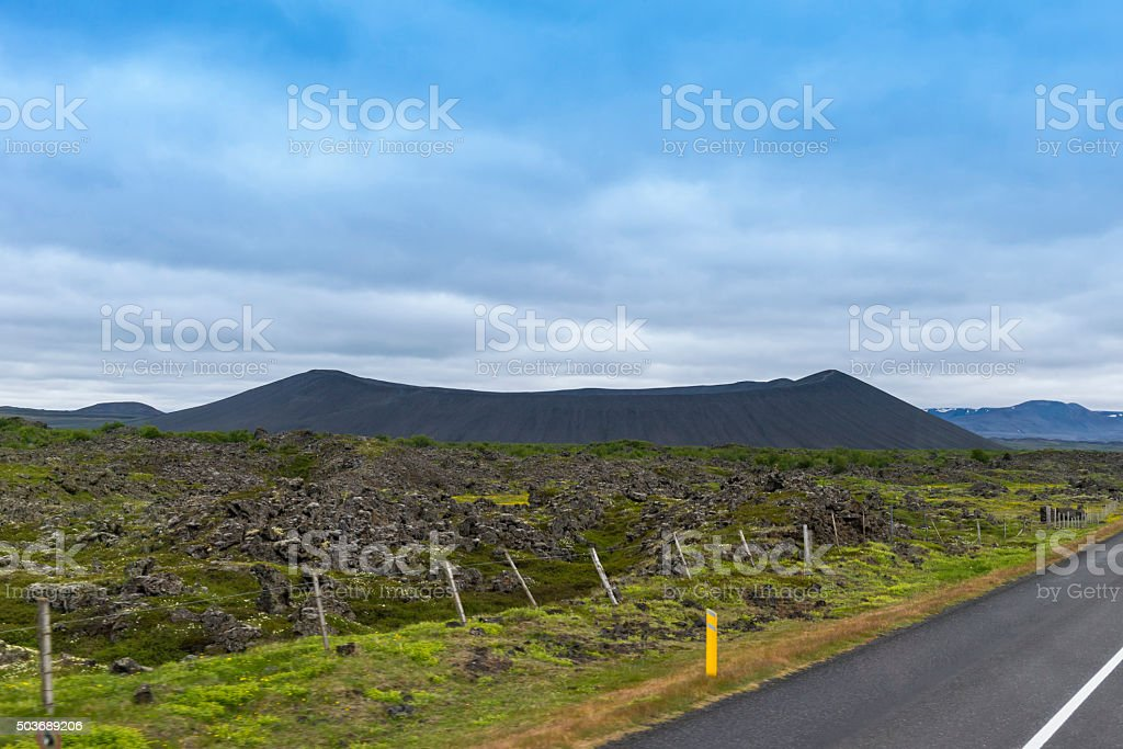 Hverfjall Volcanic Crater at Mývatn - Iceland stock photo