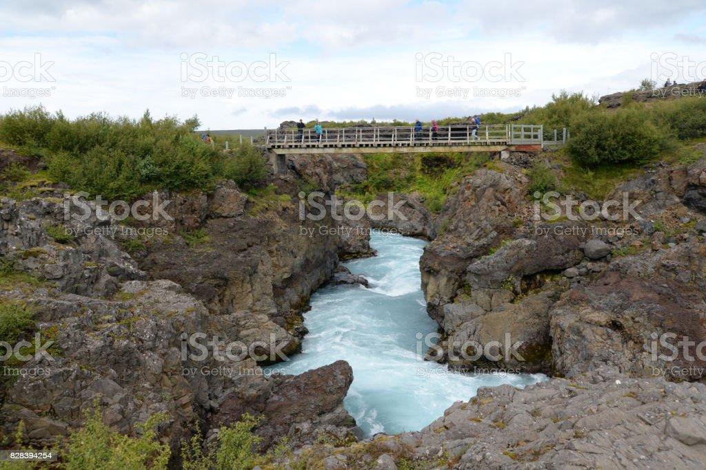 Hvita, a river at Iceland stock photo