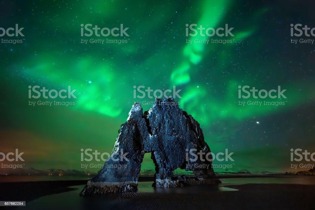 Hvitserkur aurora stock photo