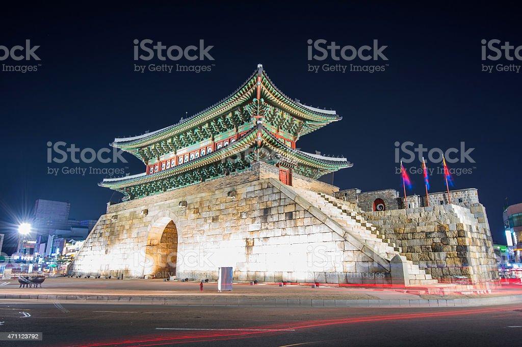 Hwaseong fortress in Suwon. stock photo