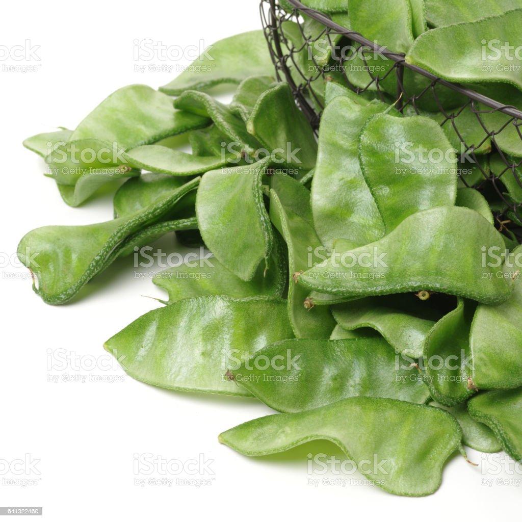Hyacinth bean on white background stock photo