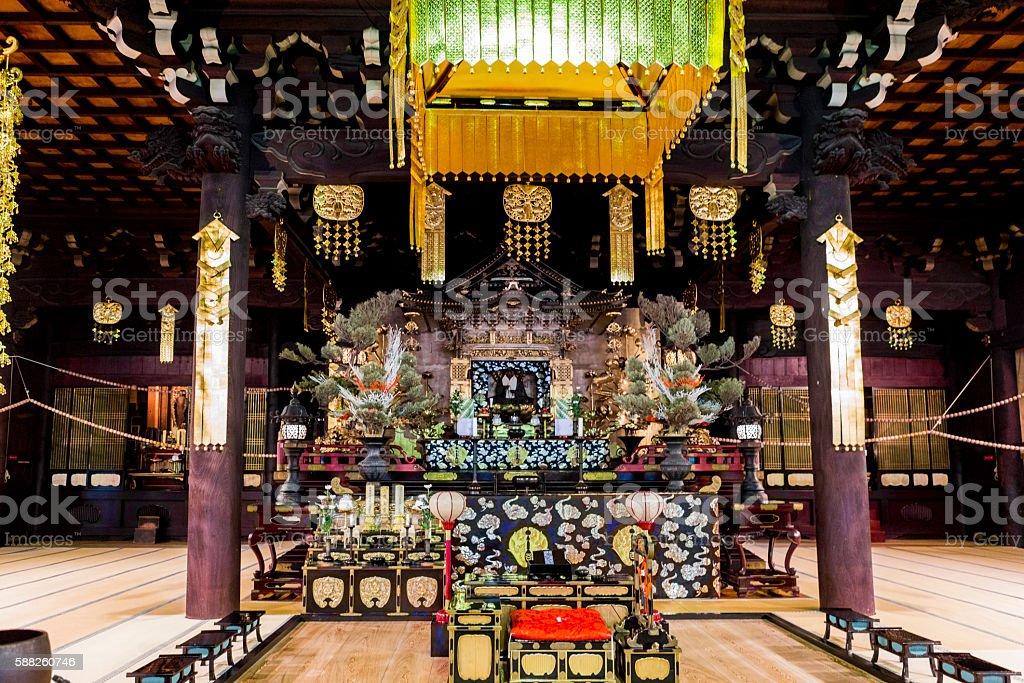 Hyakumanben Chionji Temple buddha altar at kyoto japan stock photo