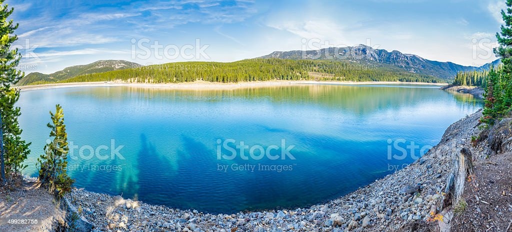 Hyalite Canyon Reservoir stock photo