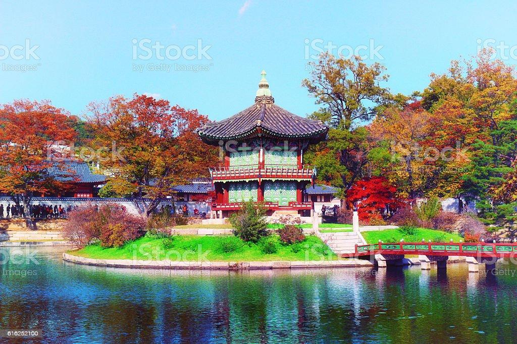hyangwonjeong pavilion, Geoncheonggung Palace stock photo