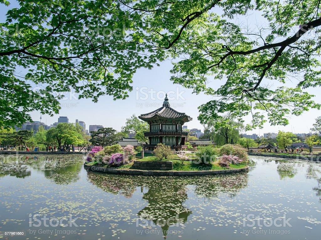 Hyangwonjeong Pavilion - Gyeongbokgung Palace, Seoul stock photo